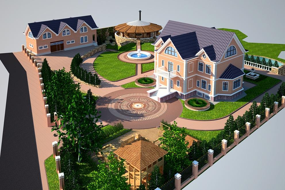 Ландшафтный дизайн территории загородного дома